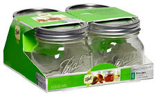 Ball Brushed Silver Wide Mouth 16oz. Jars